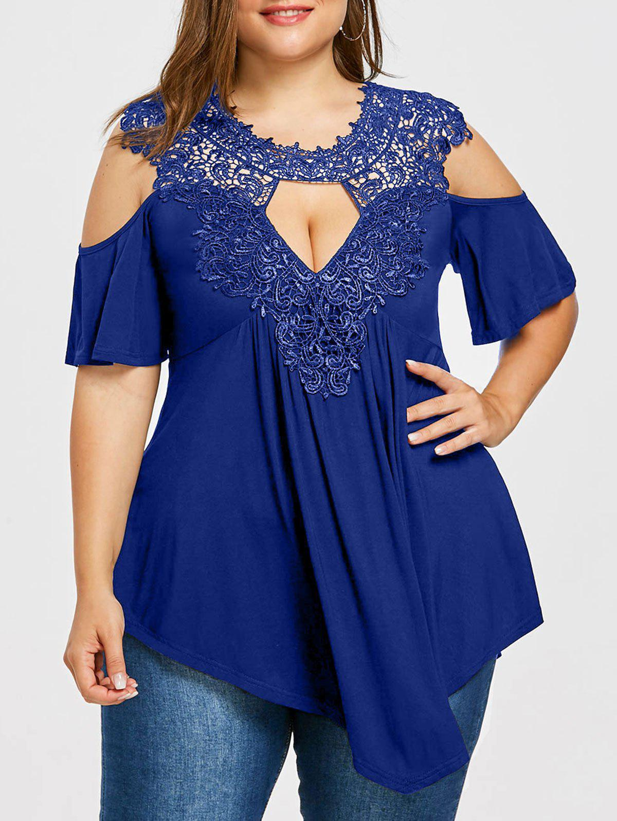 Plus Size Open Shoulder Keyhole Neck T-shirt - ROYAL BLUE 3XL