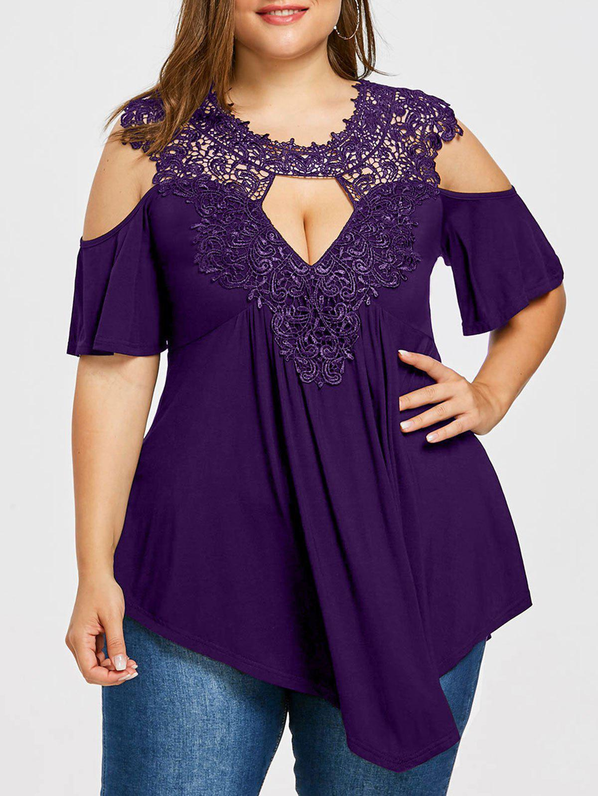 Plus Size Open Shoulder Keyhole Neck T-shirt - DULL PURPLE 2XL