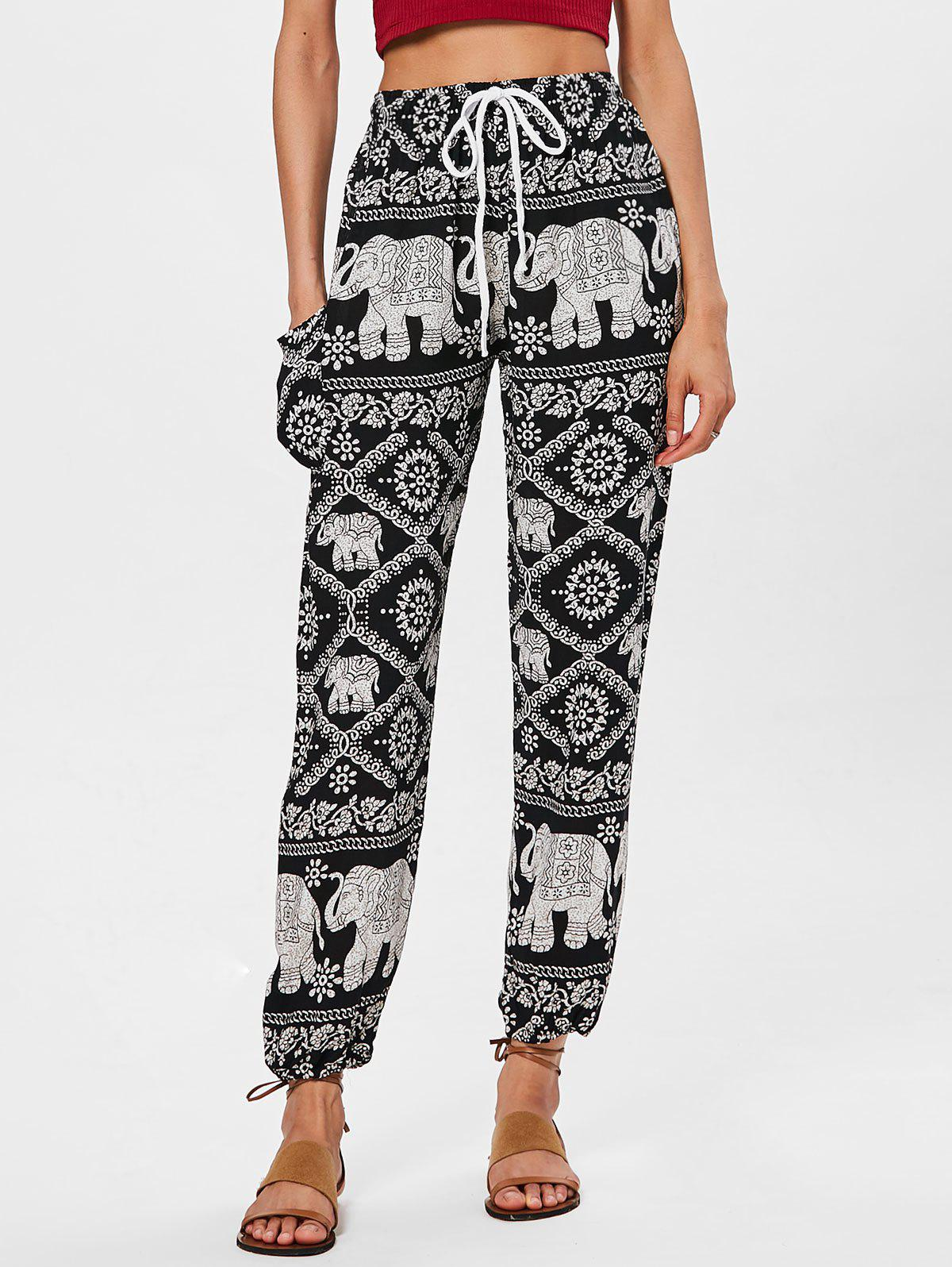 Bohemian High Waist Triabl Print Pants - BLACK 2XL