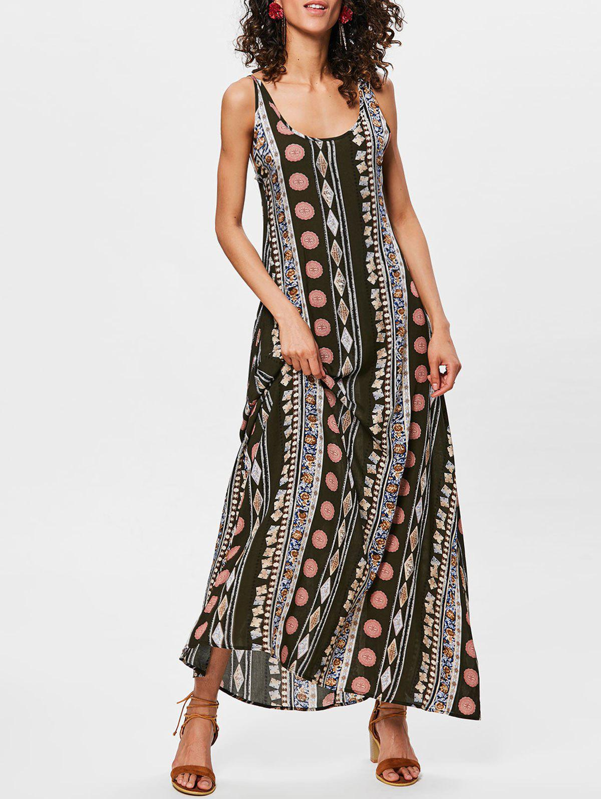 Bohemian Ethnic Print Backless Maxi Trapeze Dress - multicolor 2XL