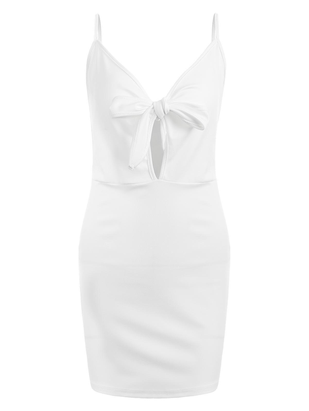 Mini Cut Out Bodycon Dress - WHITE L