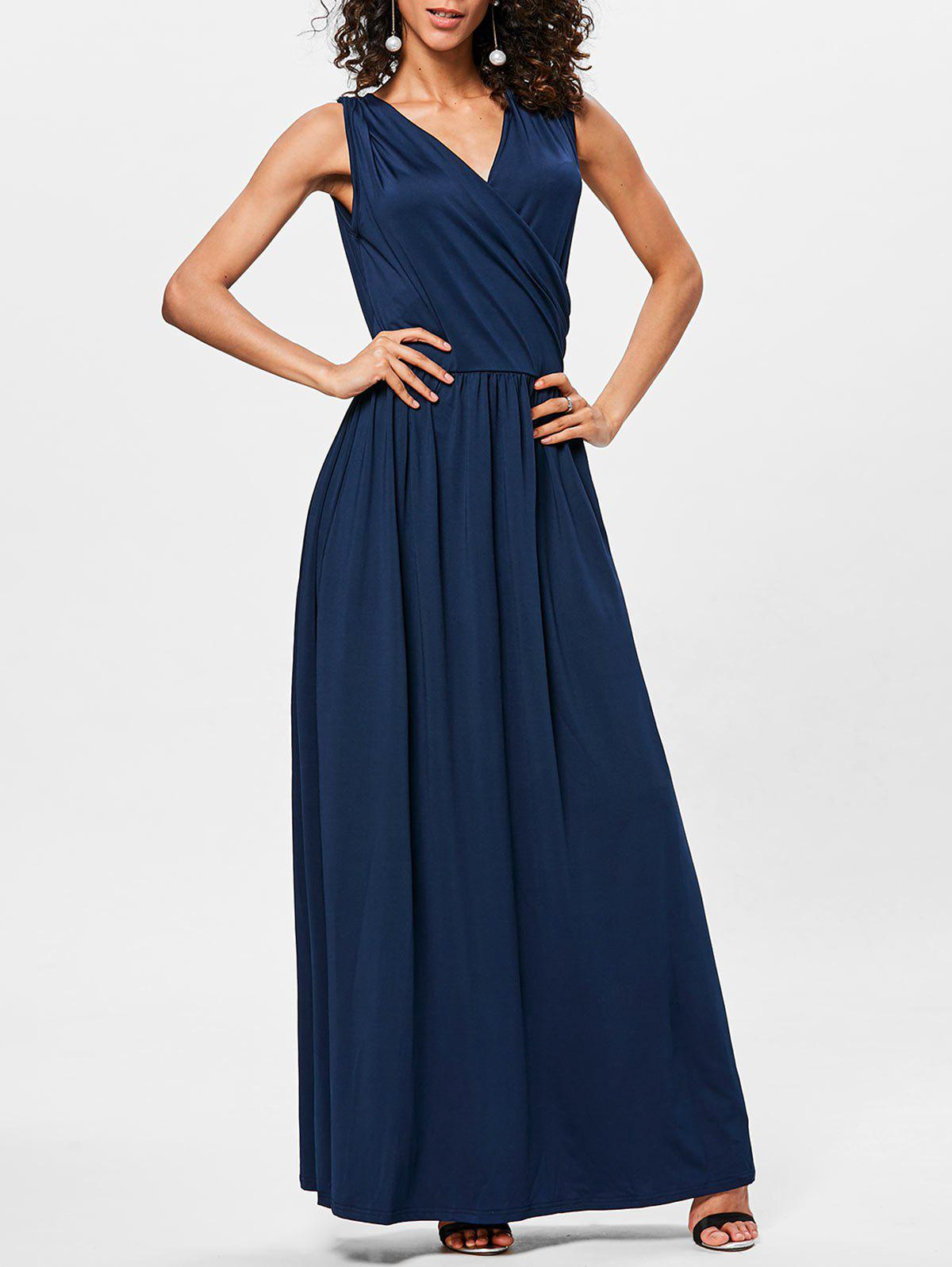 Floor Length V Neck Sleeveless Dress - MIDNIGHT BLUE XL