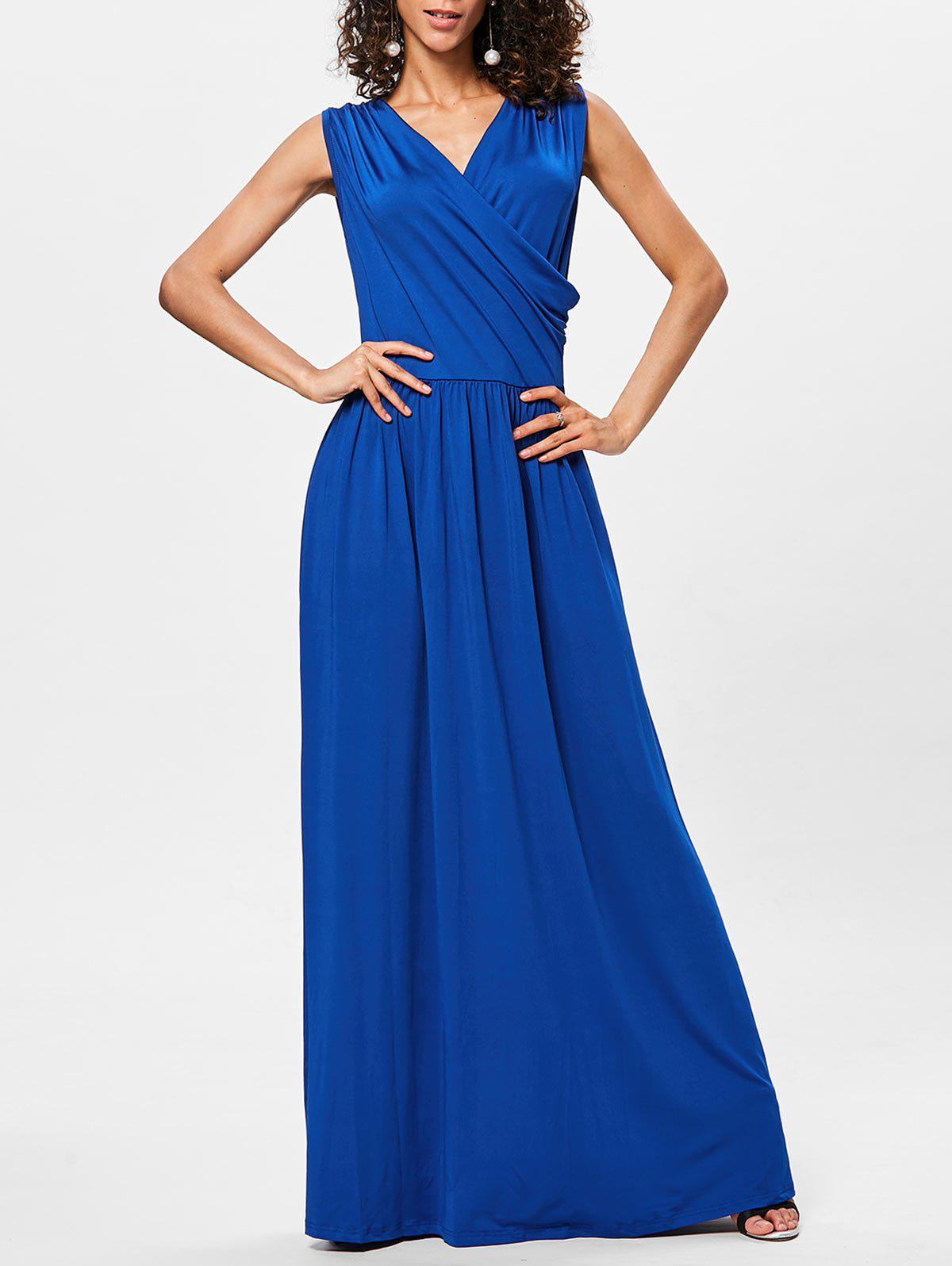 Floor Length V Neck Sleeveless Dress - ROYAL BLUE 2XL