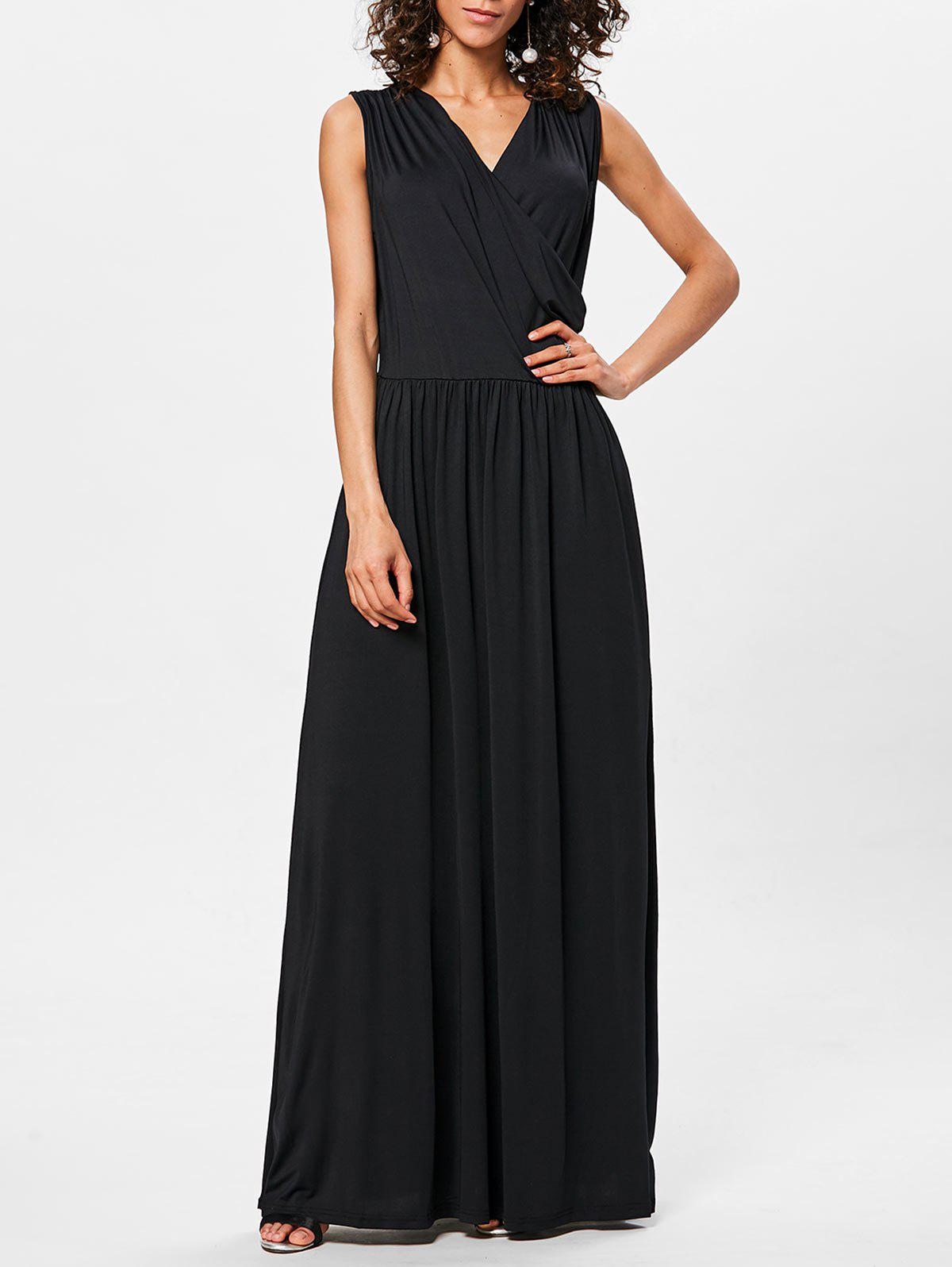Floor Length V Neck Sleeveless Dress - BLACK 2XL