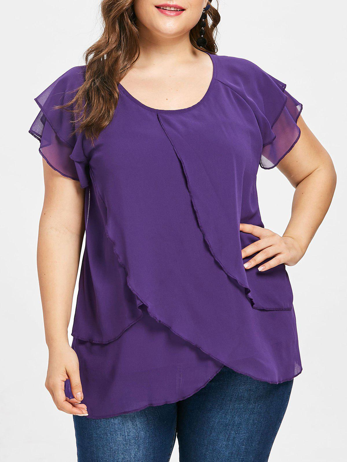 Plus Size Raglan Sleeve Tulip Blouse - PURPLE MONSTER 3X