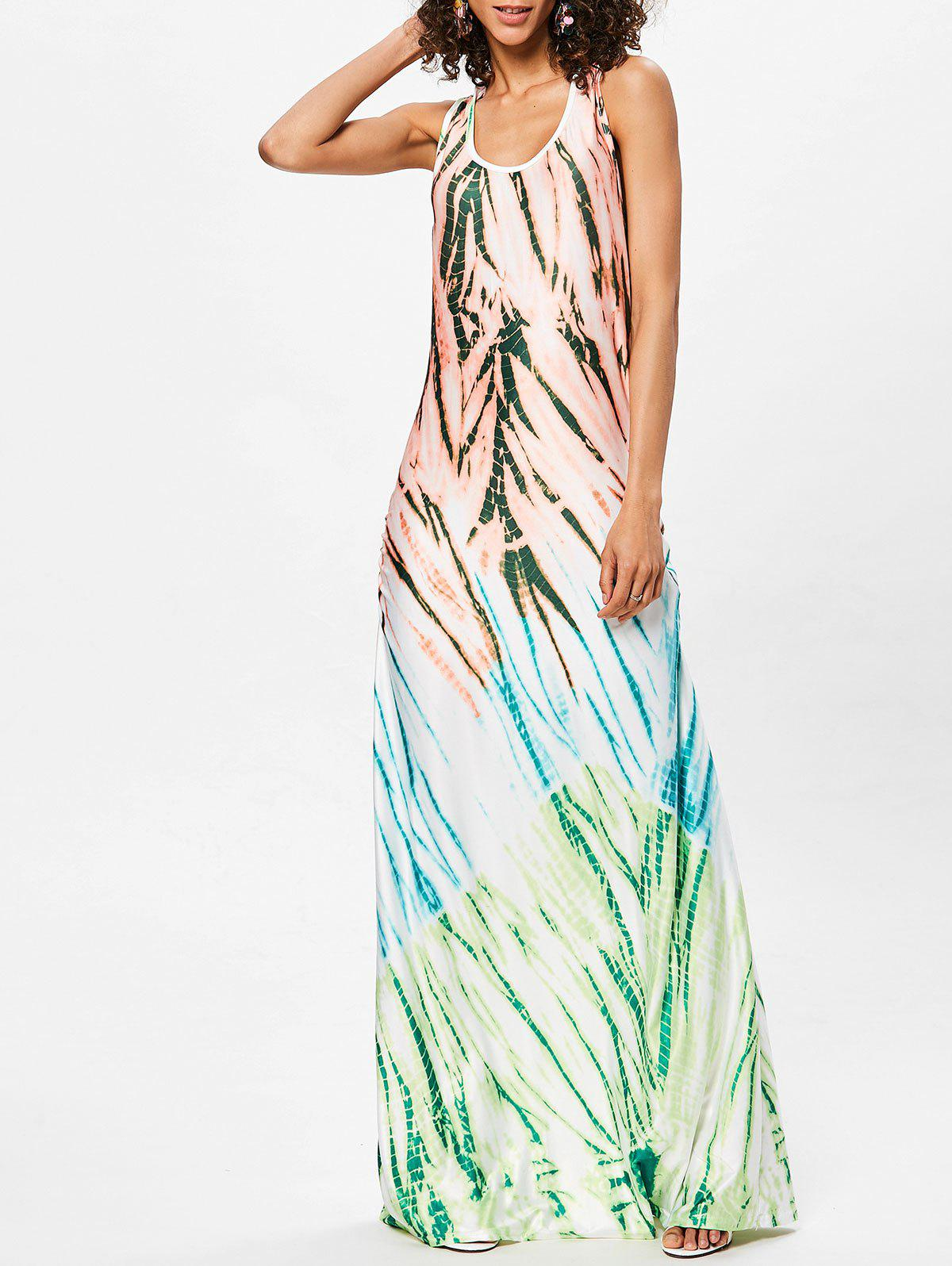 Scoop Neck Printed Floor Length Dress - GREEN L