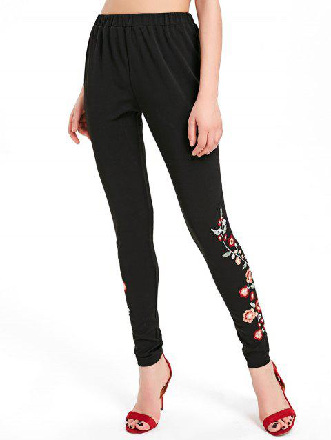 Tiny Floral Embroidery Sides Pants - BLACK L