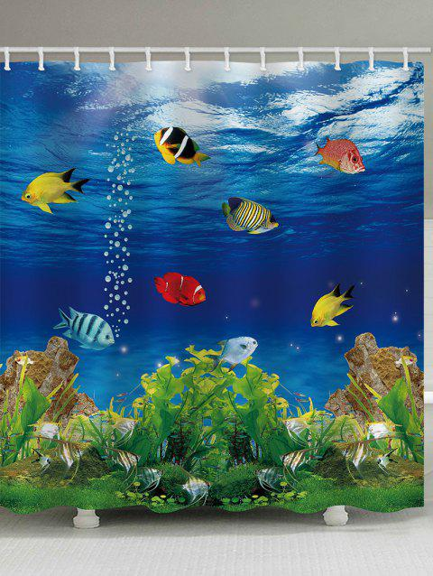 Submarine World Printed Shower Curtain - multicolor W71 INCH * L71 INCH