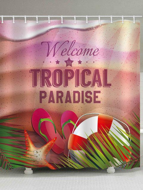 Tropical Paradise Theme Printed Bath Curtain - multicolor W65 INCH * L71 INCH