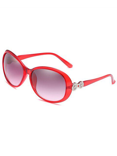 Anti Fatigue Metal Carving Frame Catty Sunglasses - RUBY RED