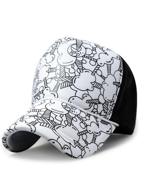 Cartoon Popcorn Adjustable Snapback Hat - WHITE