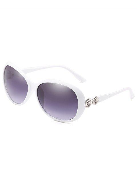 Anti Fatigue Metal Carving Frame Catty Sunglasses - WHITE