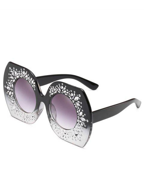 Anti Fatigue Rhinestone Oversized Sunglasses - LIGHT SLATE GRAY