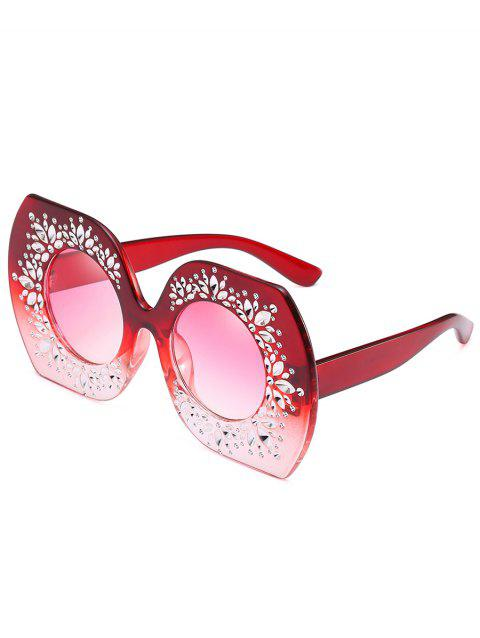 Anti Fatigue Rhinestone Oversized Sunglasses - SCARLET