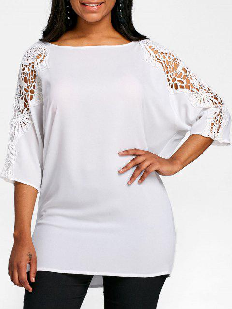 Lace Panel Dolman Sleeve Tunic T-shirt - WHITE S