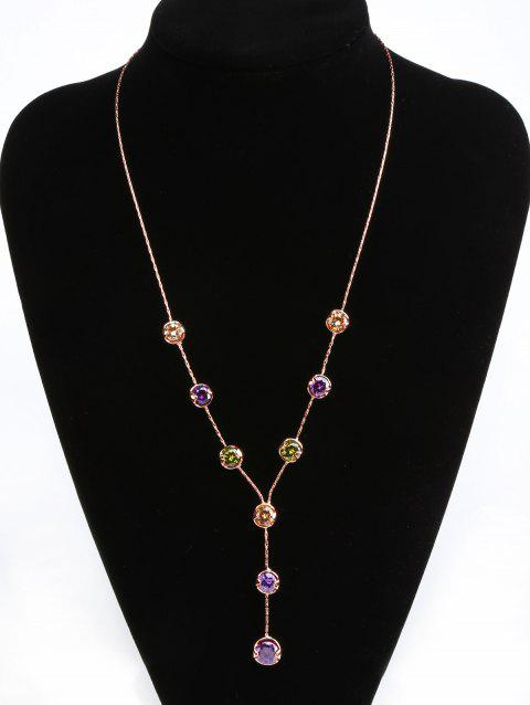 Artificial Gem Y-Shape Pendant Necklace - GOLD