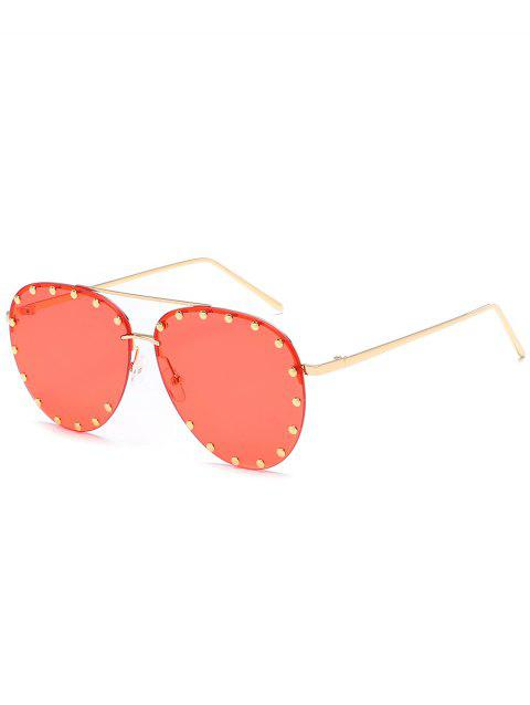 Anti UV Metal Studs Decorated Pilot Sunglasses - BEAN RED