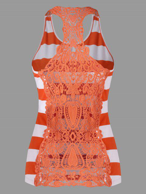 Lace Panel Striped Racerback Tank Top - ORANGE / WHITE M