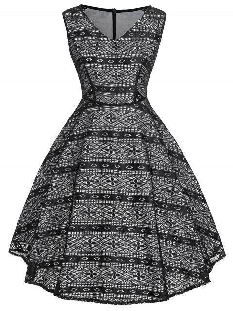 Vintage Geometric High Waist Dress - BLACK M