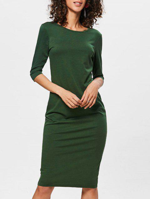 Knee Length Bodycon Shift Dress - PINE GREEN XL