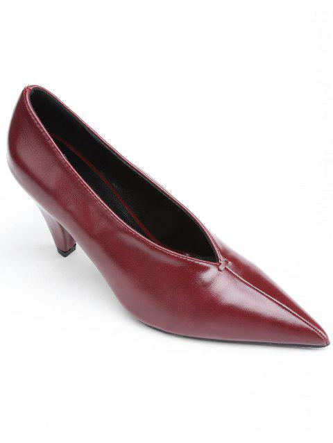 Point Toe V Cut High Heel Pumps - RED WINE 36