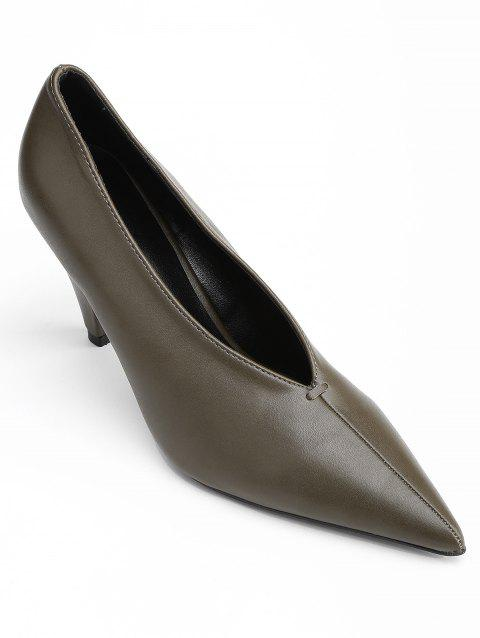 Point Toe V Cut High Heel Pumps - CAMEL BROWN 35