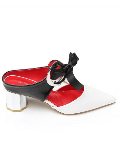 Point Toe Bowknot PU Leather Block Heel Sandals - WHITE 37