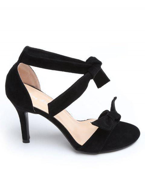 Ankle Strap Suede Bow Stiletto Heel Sandals - BLACK 36
