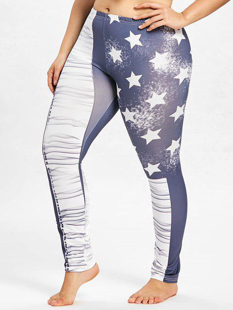Plus Size American Flag Tight Leggings - multicolor A 4X