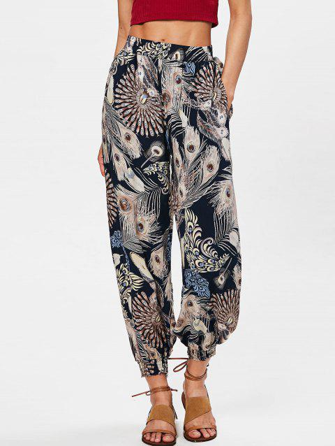 Bohemian High Rise Feather Print Pants - multicolor 2XL