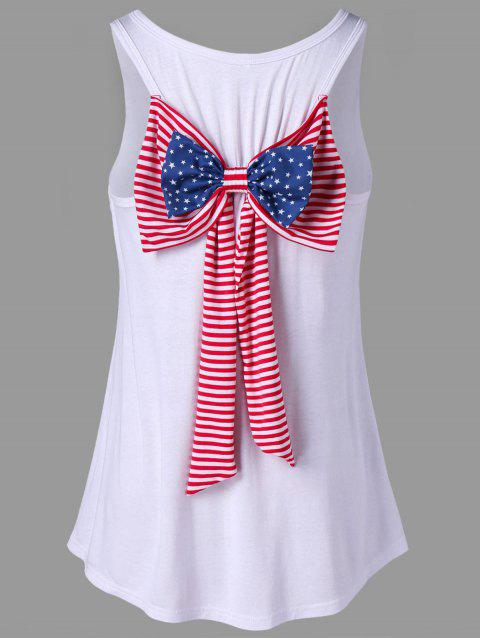 American Flag Tank Top with Bowknot Embellished - WHITE 2XL