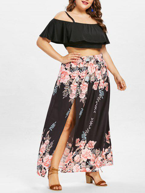 02a5faf06e9 LIMITED OFFER  2019 Plus Size Ruffle Crop Top and Slit Flower Skirt ...