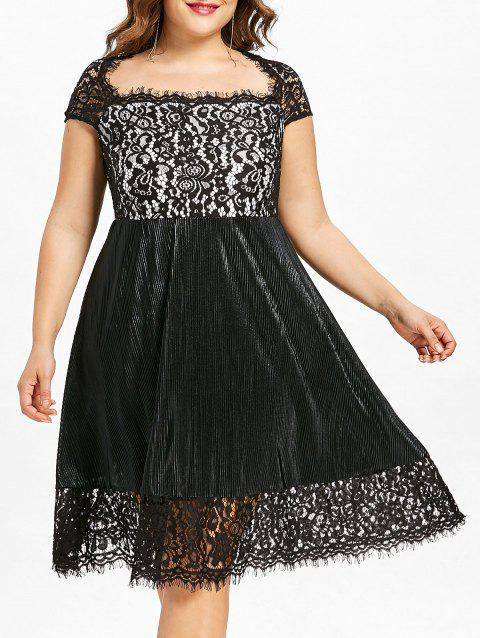 854a14dac43 17% OFF  2019 Plus Size Square Neck Fit and Flare Dress In BLACK 1X ...