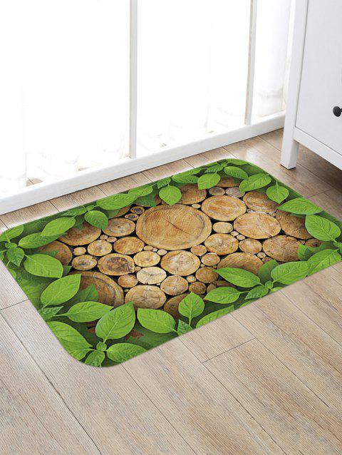 Leaf and Wood Pattern Anti-skid Floor Mat - multicolor W16 INCH * L24 INCH