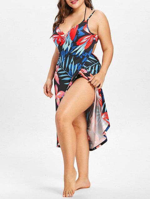 Tropical Plus Size Cover Up Dress - multicolor A L