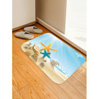 Sunny Beach Starfish Conch Anti-skid Floor Area Rug - multicolor W16 INCH * L24 INCH