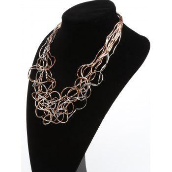 Iron Wire Multilayered Irregular Necklace - multicolor