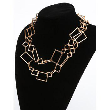 Geometric Irregularly Linked Matte Alloy Necklace - GOLDEN BROWN