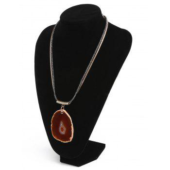 Faux Amber Embellished Pendant Necklace - CRANBERRY