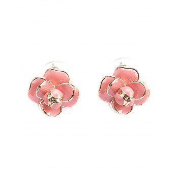 Pair of Flower Decorated Stud Earrings - LIGHT PINK