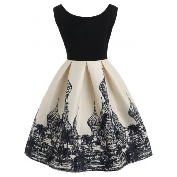 Russian Buildings Printed Sleeveless Flare Dress - BLACK S
