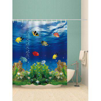 Submarine World Printed Shower Curtain - multicolor W71 INCH * L79 INCH