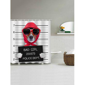 Mugshot of Wanted Dog Holding a Banner Print Bath Shower Curtain - multicolor W71 INCH * L79 INCH