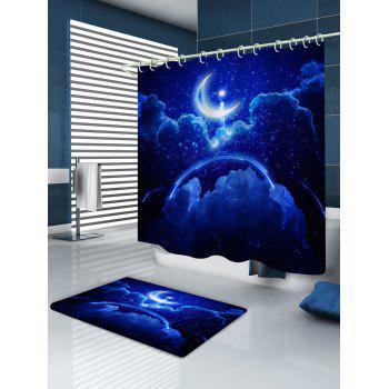 Bath Decor Moon Starry Night Sky Print Shower Curtain - COBALT BLUE W65 INCH * L71 INCH