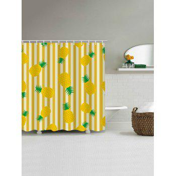Stripes Pineapples Printed Bath Decor Shower Curtain - SUN YELLOW W71 INCH * L71 INCH