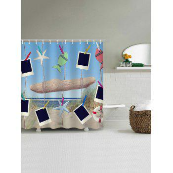 Beach Scenery Hanging Photos Print Bath Shower Curtain - multicolor W71 INCH * L79 INCH
