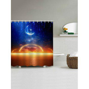 Moon Starry Sky Sea Level Sunset Glow Print Shower Curtain - multicolor W65 INCH * L71 INCH