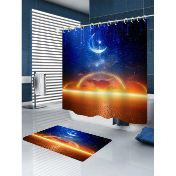 Moon Starry Sky Sea Level Sunset Glow Print Shower Curtain - multicolor W71 INCH * L71 INCH