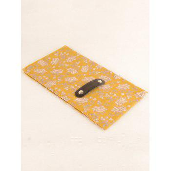 Flourishing Floral Pattern Silky Kerchief Neck Scarf - BRIGHT YELLOW