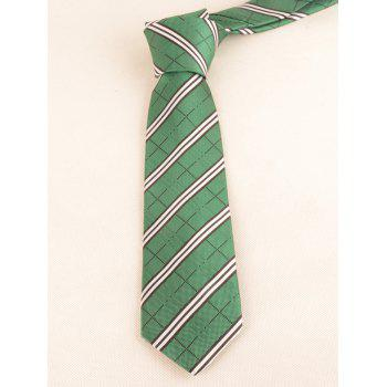 Striped Pattern Silky Business Shirt Tie and Bowtie - DOLLAR BILL GREEN